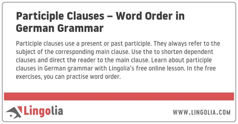 Participle Clauses – Word Order in German Grammar